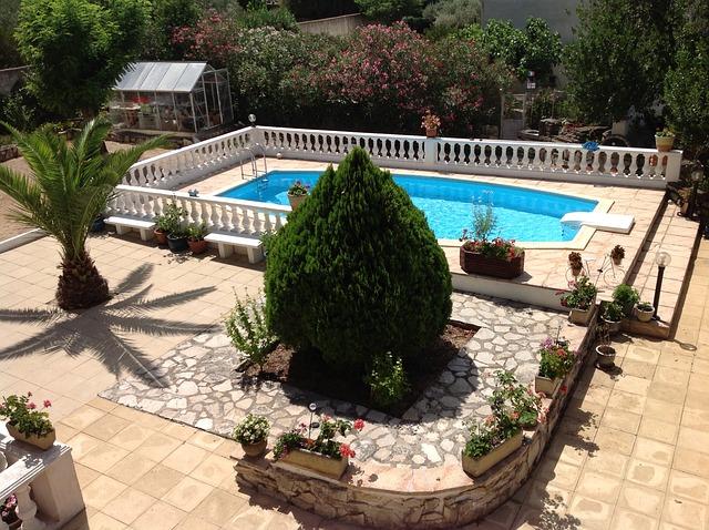Végétation et piscine